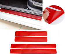 4x 3D Carbon Fiber Vinyl Decal Car Door Sill Red Scratch Protect Stickers AHM J
