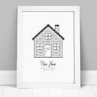 Personalised New Home House Family House Warming Gift Picture Frame Print