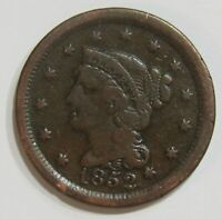 1852 Braided Hair Large Cent 1¢ Extremely Fine