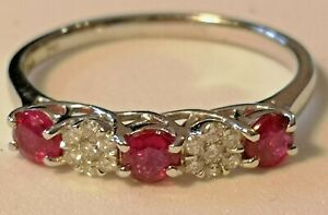 Ruby and Diamond five stone ring 18ct white gold rrp £1050