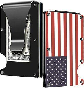 USA Flag Aluminum Money Clip Credit Card Holder Minimalist Wallet for Men RFID