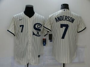 Men's Chicago White Sox Tim Anderson 2021 Field of Dreams Cream/Navy Jersey
