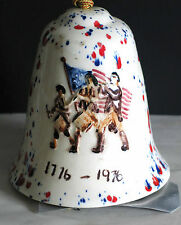 Bicentennial 1976 Red White Blue Glaze Ceramic Hanging Bell Chime Free Sh