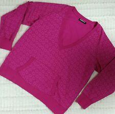MXM Womens 1X Sweatshirt Pink Stars Print V Neck Kangaroo Pocket Pullover