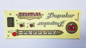 Vintage HERCULES logo frame transparent stickers set for Bicycle Bike