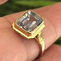 18K Yellow Gold Emerald cut Faceted AA Swiss blue Topaz 4.25 Carats size 8