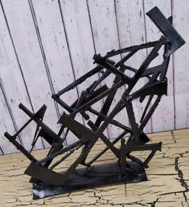Vtg Handmade Welded Metal Iron Abstract Art Sculpture Artwork Primitive Gothic