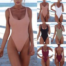 Womens Backless One-Piece Bikini Monokini Push Up Padded Plain Swimsuit Swimwear