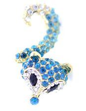 Anillo zorro de cristal azul brillante muy brillante