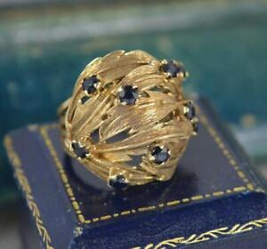 Impressive Natural Sapphire and 9ct Gold Naturalistic Bombe Cluster Ring