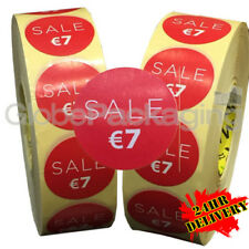 2000 x 'SALE €7' EURO Retail Self Adhesive Shop Price Labels Stickers 35mm
