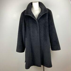 Cinzia Rocca Women's Coat Piacenza Baby Llama & Wool Black Size 10 Made in Italy
