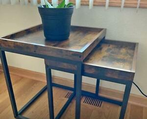 Nesting Tables, Side Tables, Coffee Tables Set of 2, Rustic Brown and Black