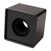 1pc Black ABS Mic Microphone Interview Square Cube Logo Flag Station HY