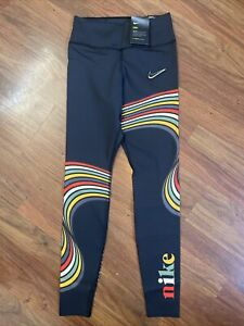Nike One Luxe Women's Mid Rise Printed Leggings Size Small Black DJ5357-045