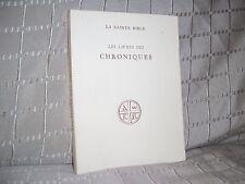 Les livres des chroniques La Sainte Bible éditions du cerf 1954