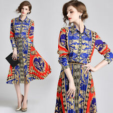 2019 Summer Fall 2pcs Women Set Vintage Print Top Shirt Blouse Skirt Suit Outfit