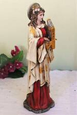 St. Cecilia Statue 10 inch Playing Harp Colorful Indoor Outdoor Resin