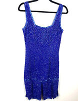 Vintage  LAURENCE KAZAR Blue Beaded Sequin Cocktail Gown Dress 100% Silk  Small