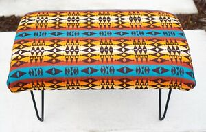 OTTOMAN FOOTSTOOL - MADE W/PENDLETON WOOL - TURQOUISE DESERT SUNSET COLORS
