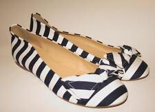 JCrew Stripe Ballet Flats Size 6 Navy White Striped Cotton Shoes Bow