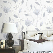 CROWN SYNERGY FLOWER GREY SILVER SPARKLE VINYL FEATURE DESIGNER WALLPAPER M0852
