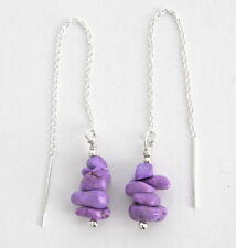 Silver Ear Thread Threader Earrings *Iaj* Purple Magnesite Nuggets, Sterling