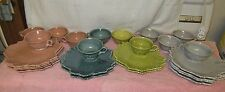 12 Vtg Steubenville Woodfield Leaf Pattern Luncheon Snack Sets-12 Plates/12 Cups