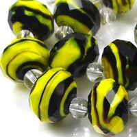 14 Czech glass Faceted Rondelle Beads - Yellow Black Swirl 12x8mm