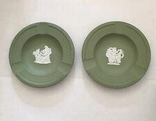 Vintage Wedgwood Green Jasperware Small Ashtray Set Of 2.