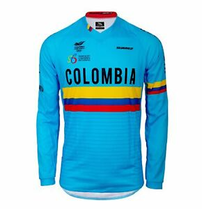 2020 Colombian Federation Relaxed Fit Long Sleeve Cycling Jersey in Blue