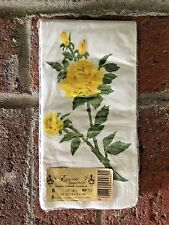 New Sealed Vintage Epicure Supersoft Facial Tissue Towels White Yellow Roses