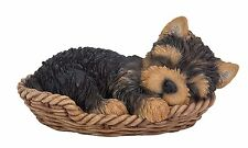Yorkie Puppy in Wicker Basket Pet Pals Collectible Dog Figurine 6.5 Inches L