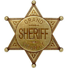American Western Old West Lawman Grand County Sheriff Badge Gold Finish