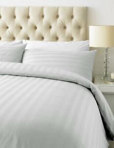 800TC White Sateen Stripe Duvet Cover Bedding Set Single