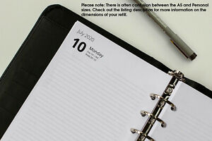 A5 Refills 2021. Week View, Day per Page, 2 Days per Page. (Fits Filofax)