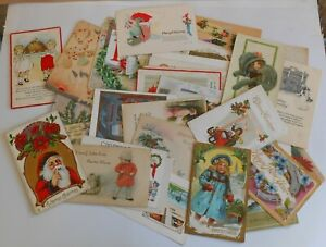 Vintage Antique Christmas & Happy New Year Postcard Junk Drawer Collection Lot