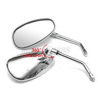 2x Retrovisori Specchietti Custom Moto Specchi Universali 10mm Cromati  #