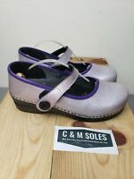 Sanita Clogs Womens Size 41 Mary Jane Purple Pink Shiny Leather Strap Buckle