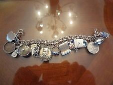 VINTAGE STERLING SILVER DOUBLE LINK  CHARM BRACELET WITH 15 COOL STERLING CHARMS