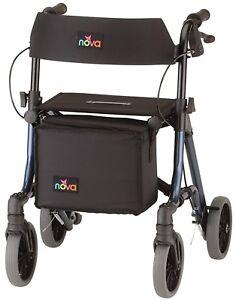 Nova Forte 20″ Foldable Rollator Rolling Walker Blue/ Red 300 lb Capacity New