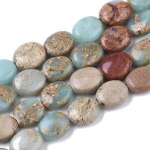 39pcs/Strd Oval Natural Aqua Terra Jasper Stone Beads Smooth Loose Spacer 10x8mm