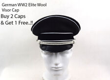 More details for german ww2 officer's elite wool visor hat w white chin pipe silver cord replica