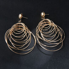1Pair Fashion Big Circle Silver Gold Hoop Earrings Women's Rings Ear Jewelry 6A