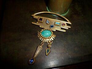 Vintage Patricia Locke Jeweled Pendant Brooch Pin
