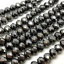 Glass crystal faceted Rondelle / Abacus beads Metallic 3x2 4x3 6x4 8x6 10x8 12x9