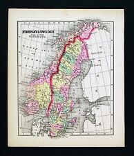 1857 Morse Map - Sweden Norway - Stockholm Oslo Christiansand Gothland - Europe
