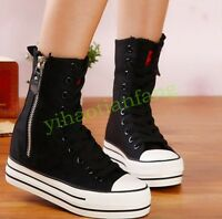 HOT ph Womens Ankle Boots Zip Plimsolls High Top Sneakers Canvas Shoes Platform