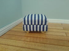 Dolls House Miniatures 1/12th Blue & White Striped Footstool Accessory DF1167
