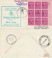 US 1958 FIRST NON STOP FLIGHT FLOWN AIR MAIL COVER SPRINGFIELD TO DETROIT